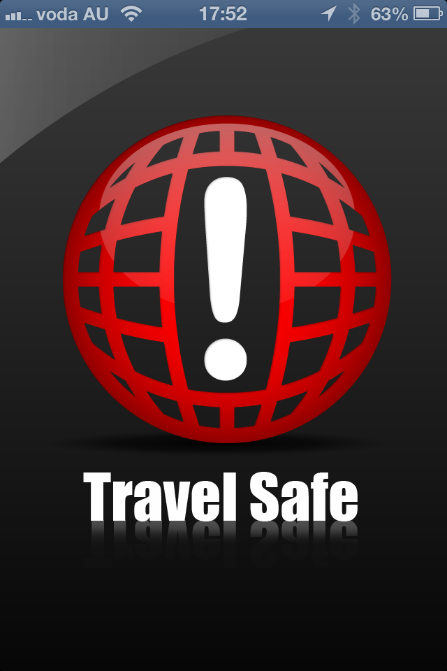 The Travel Safe logo is displayed when you open the application.