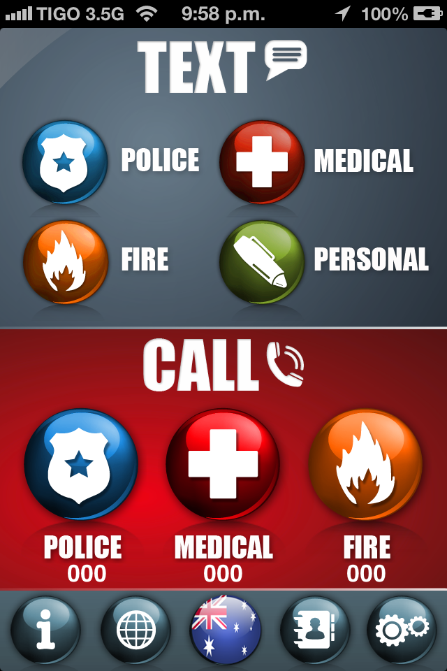 The home screen allows you to call emergency services or send a text with pre-loaded information including your location to multiple contacts. The five menu buttons along the bottom link to information, location, country, emergency contacts and settings.